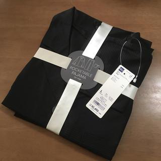 ジーユー(GU)のGU ポケッタブルパジャマ メンズ ブラック Lサイズ 長袖(その他)