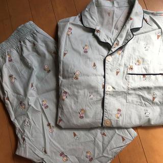 GU - gu パジャマ スヌーピーSNOOPYアイス柄 半袖長ズボン 水色 Mサイズ
