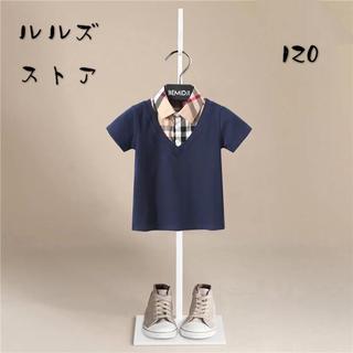 新作 半袖 ポロシャツ Tシャツ キッズ 子供服 男の子 トップス上品 ネイビー