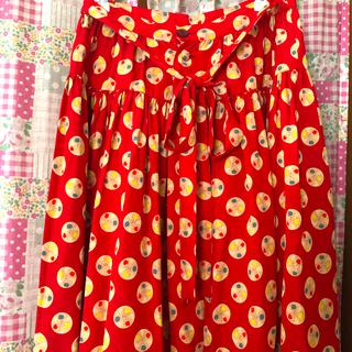 ピンクハウス(PINK HOUSE)の【PINK HOUSE】ひざ丈スカート 古着 レトロ フリルスカート(ひざ丈スカート)