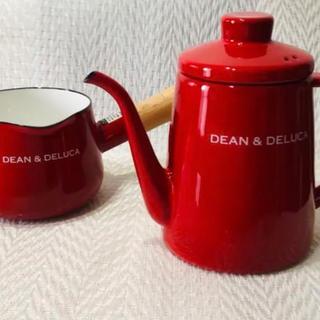 ディーンアンドデルーカ(DEAN & DELUCA)のDEAN & DELUCA ホーローケトル&片手鍋 セット レッド 新品未使用(鍋/フライパン)