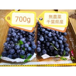 ブルーベリー 700g 千葉県産 無農薬 完熟 ミント ミニ保冷剤入り(フルーツ)