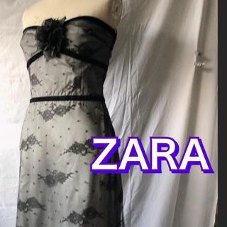 ザラ(ZARA)の美品 激安 ZARAレースブラック ベアトップワンピース(ミニドレス)