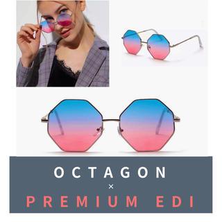 【セール】オクタゴンフレームグラス シルバー/ 伊達眼鏡 メガネ 多角形 色