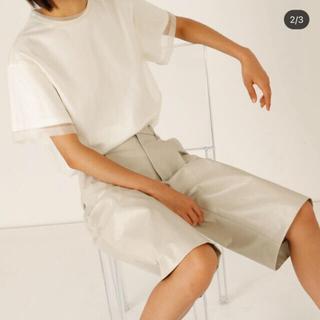 ルシェルブルー(LE CIEL BLEU)のルシェルブルーオーガンザオーバーレイTシャツホワイトオーガンジーシースルー(Tシャツ(半袖/袖なし))