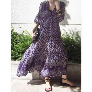 アパルトモンドゥーズィエムクラス(L'Appartement DEUXIEME CLASSE)のアパルトモン ブルーボヘム BLUE BOHEME PRINTED DRESS(ロングワンピース/マキシワンピース)