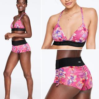 ヴィクトリアズシークレット(Victoria's Secret)の最新🌸花柄スポーツブラ➕ショートパンツセットVS PINK XSサイズ❤︎新品(セット/コーデ)