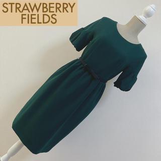 STRAWBERRY-FIELDS - ストロベリーフィールズ ベルト付ワンピース グリーン