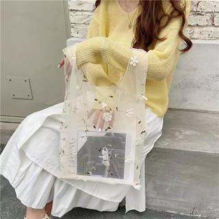 ザラ(ZARA)の刺繍 エコバッグ 韓国 花柄 クリーム(エコバッグ)