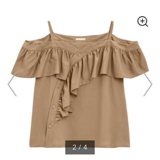 ジーユー(GU)のGU 完売品 150 オフショル ブラウン 女の子 オフショルダー(Tシャツ/カットソー)