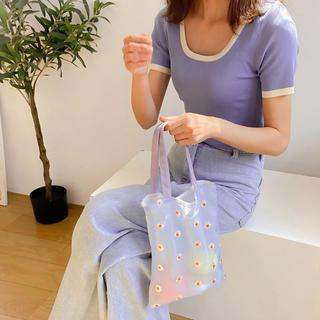 ザラ(ZARA)の刺繍 エコバッグ ミニバッグ 水色 花柄 韓国(エコバッグ)