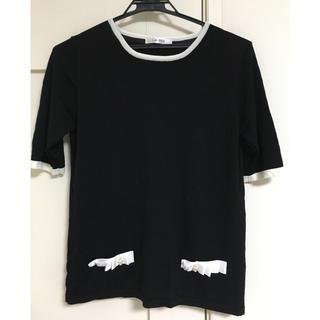 ニッセン(ニッセン)のリボン×パールビジューで着映えする♪華やか配色ニット(接触冷感)(Tシャツ(半袖/袖なし))