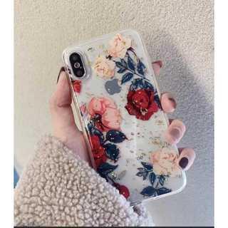 花柄 iPhoneケース 透明 クリア レッド 7Plus/8Plus