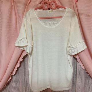 シマムラ(しまむら)のしまむら大きいサイズ袖フリルカットソー3L(カットソー(半袖/袖なし))