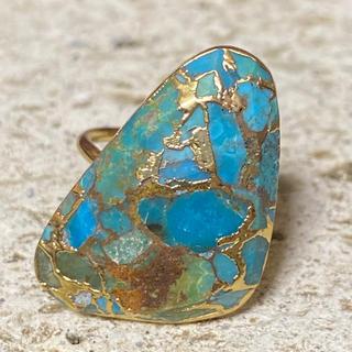 ローズバッド(ROSE BUD)のK18GP 天然石 リング 指輪 トライアングル ターコイズ C(リング(指輪))