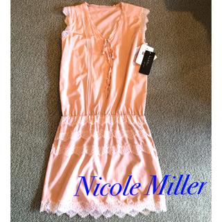 ニコルミラー(Nicole Miller)の断捨離セール 新品 タグ付 ニコルミラー レース シルク ピンク ワンピース(ひざ丈ワンピース)