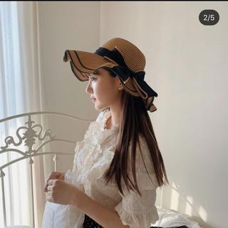 スナイデル(snidel)のトリートユアセルフ elegant wave ribbon straw hat(麦わら帽子/ストローハット)