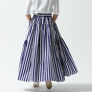 ツルバイマリコオイカワ(TSURU by Mariko Oikawa)のSHE TOKYO Michelle stripe スカート 36-38サイズ(ロングスカート)