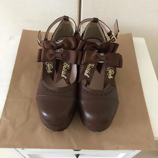 リズリサ(LIZ LISA)のLIZLISA 厚底リボンストラップシューズ(ローファー/革靴)