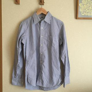 無印良品 ポロシャツ風 半袖シャツ Sサイズ 細身タイト ベージュ茶色 ロック 古着 < ブランド