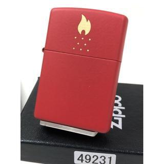 ジッポー(ZIPPO)の2020 Zippo ファイヤー ロゴ 炎/レッドマット・赤 #49231(タバコグッズ)