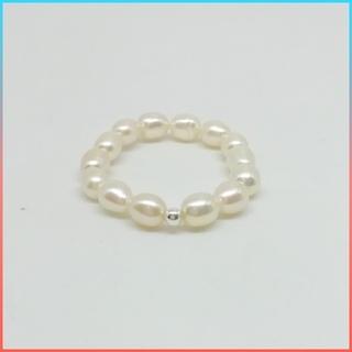 ✩ 新品 未使用 天然淡水 ライスパール リング 指輪《 ホワイト 》us7.5(リング(指輪))