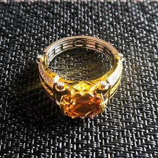 新品 メンズリング シャンパンゴールドクリスタルジルコン 大きめサイズ27号(リング(指輪))
