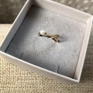 レイジースーザン(LAZY SUSAN)の ☆ほぼ未使用☆レイジースーザン 10金 ダイヤモンド&パール リング(リング(指輪))