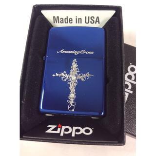 ジッポー(ZIPPO)のZippo アメージングクロス BL スワロ/ブルー 青(タバコグッズ)