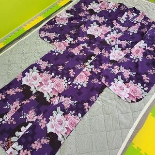 フリフ(ふりふ)の撫松庵(ぶしょうあん)の浴衣★紫パープル✕ピンク★薔薇ローズ柄(浴衣)