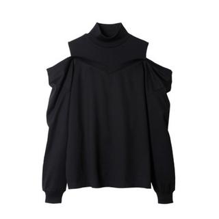 ルシェルブルー(LE CIEL BLEU)のLE CIEL BLUE レイヤードオフショルダートップス ブラック 36(Tシャツ(長袖/七分))