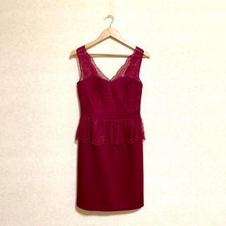 ジルスチュアート(JILLSTUART)の美品 JILLSTUART  赤紫のレースドレス(ミディアムドレス)