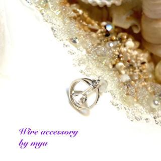 Silver925*ハーキマーダイヤモンドの片耳サークルスタッドピアス(ピアス)