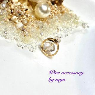 1点物*14kgfハーキマーダイヤモンドの片耳サークルスタッドピアス(ピアス)