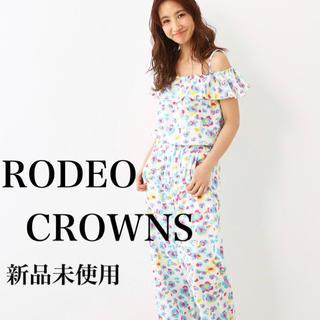 ロデオクラウンズワイドボウル(RODEO CROWNS WIDE BOWL)の【新品】RODEO CROWNS★ フラワー レオパード  フリル ロンパース(ロングワンピース/マキシワンピース)