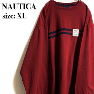 ノーティカ(NAUTICA)のNAUTICA ロンT ライン レッド ワンポイント ノーティカ(Tシャツ/カットソー(七分/長袖))