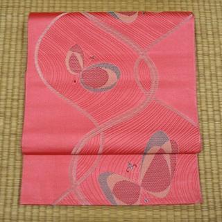 中紅色に銀糸と蝶 名古屋帯(帯)