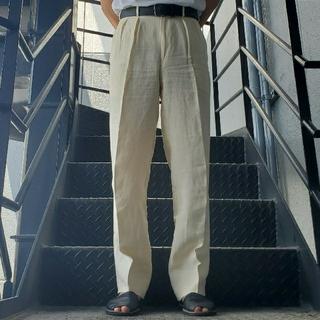 ジョンローレンスサリバン(JOHN LAWRENCE SULLIVAN)のヴィンテージ スラックス トラウザー ワイドパンツ アイボリー ホワイト(スラックス)