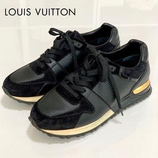 ルイヴィトン(LOUIS VUITTON)の1747 美品 ヴィトン ランアウェイ スニーカー 黒×ゴールド(スニーカー)