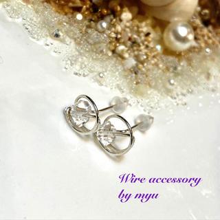 Silver925フィールド*ハーキマーダイヤモンドのサークルスタッドピアス(ピアス)