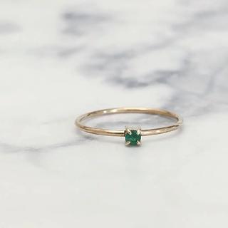 アガット(agete)の美品 K9 カラーストーンリング グリーン(リング(指輪))