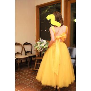 オーダーメイド🌼マスタードカラーのミモレ丈ドレス 7-9号(ウェディングドレス)