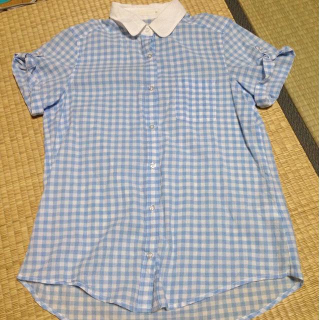 GU(ジーユー)のギンガムチェックシャツ レディースのトップス(シャツ/ブラウス(半袖/袖なし))の商品写真
