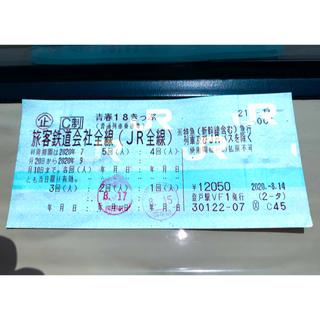 2020年夏の青春18きっぷ 3回残り(鉄道乗車券)