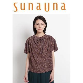 スーナウーナ(SunaUna)のL-新品 sunauna スーナウーナ 小花プリントブラウス(シャツ/ブラウス(半袖/袖なし))