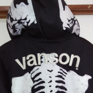 VANSON - バンソン‼️ボーンパーカージャケット 黒×白 サイズXL