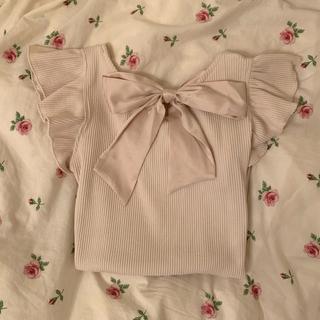フラワー(flower)のバックリボントップス(カットソー(半袖/袖なし))