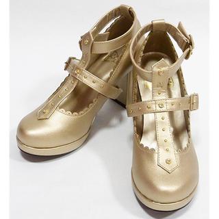 パンプス ロリータ 太ヒール ストラップ ウィングチップ 厚底 (靴/ブーツ)