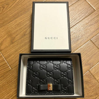 Gucci - GUCCI シマリボンミニウォレット/カードケース 黒