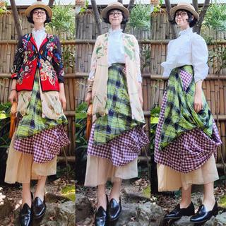 ヴィヴィアンウエストウッド(Vivienne Westwood)の日本製 ヴィヴィアンウェストウッド チェック総柄レイヤードロングスカート 変型(ロングスカート)